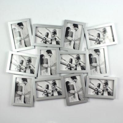 Фоторамка «Двенадцать ярких мгновений» серебристая, на 12 фото