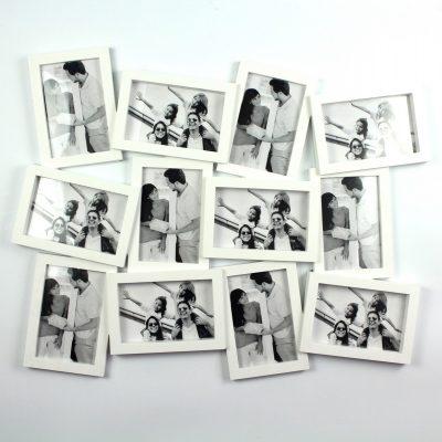 Фоторамка «Двенадцать ярких мгновений» белая на 12 фото