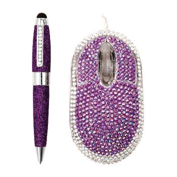 Мышь компьютерная + стилус «Гламурненько», фиолетовый