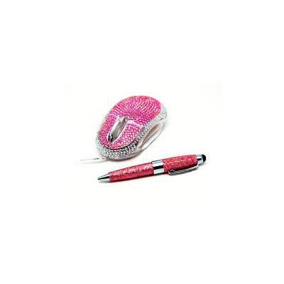 Мышь компьютерная + стилус «Гламурненько», розовый