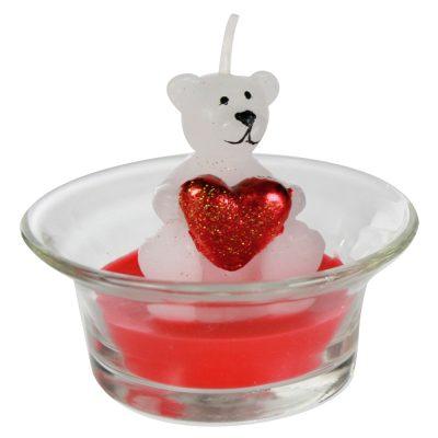 Свеча в стакане «Мишка с сердцем» белый
