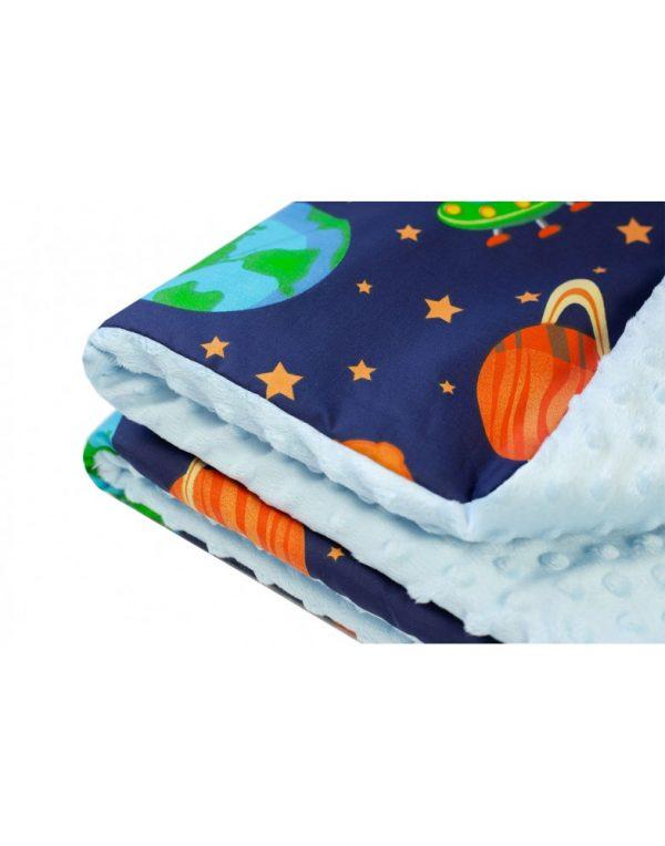 Плед детский плюшевый minky «Космос»   Голубой