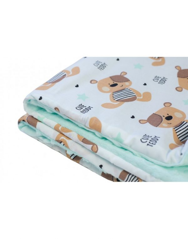 Плед детский плюшевый minky «Мишки»  Мятный
