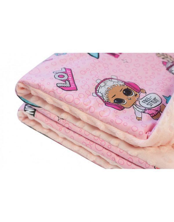 Плед детский плюшевый minky «Куклы» Персиковый
