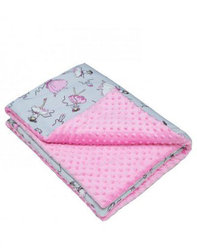 Плед детский плюшевый minky «Балерины» розовый