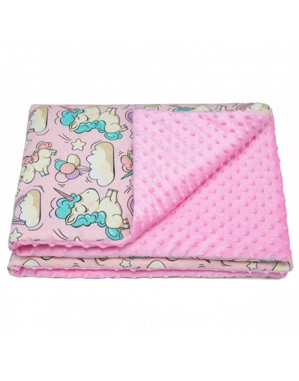 Плед детский плюшевый minky «Единороги»  Розовый