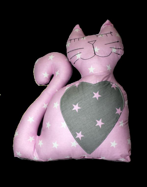 Подушка Хатка «Кот» Принцесса розовый с серым