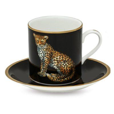 Чашка для эспрессо с блюдцем Leopard Black