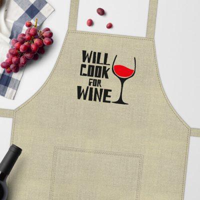 Фартук с приколом «Will cook for wine»