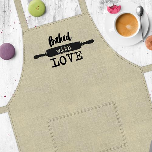 Фартук с приколом «Baked with love» (Пеку с любовью)