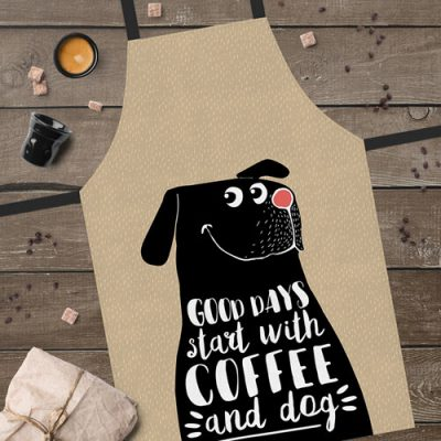 Фартук полноцветный Сolorful  «Good days start with coffee and dog»