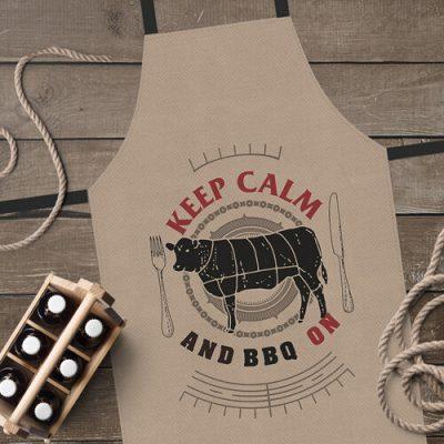 Фартук полноцветный Сolorful  «Keep calm and BBQ ony» коричневий