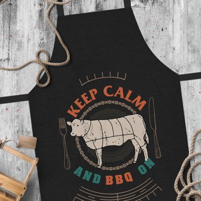 Фартук полноцветный Сolorful  «Keep calm and BBQ ony» чорний