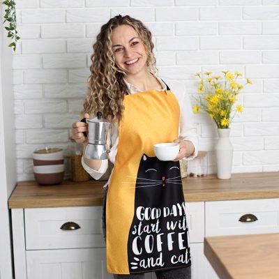 Фартук полноцветный Сolorful  «Good days start with coffee and cat»