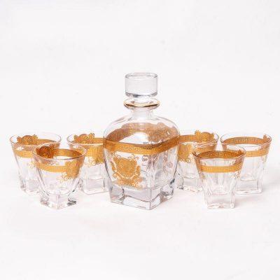 Набор для виски Butterfly Preface (графин 0,79 л. и 6 стаканов 0,25 л) золотистый