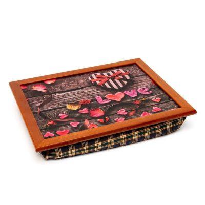 Поднос на подушке «Цветочное сердце», коричневый