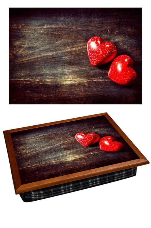 Поднос на подушке «Два сердца», коричневый