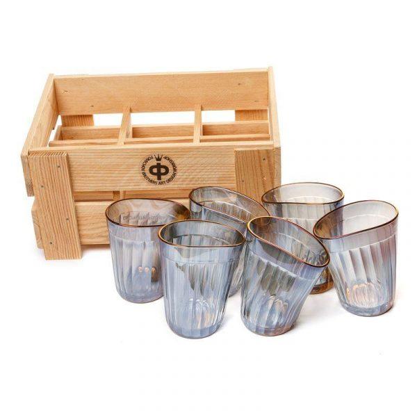 Набор пьяных граненных стаканов с золотым ободком