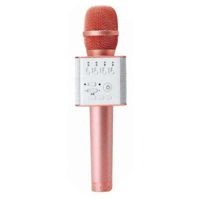 Микрофон для караоке Q9 с колонкой (розовое золото)