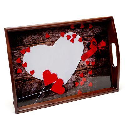 Поднос на подушке «Белое сердце», коричневый 48*33 см