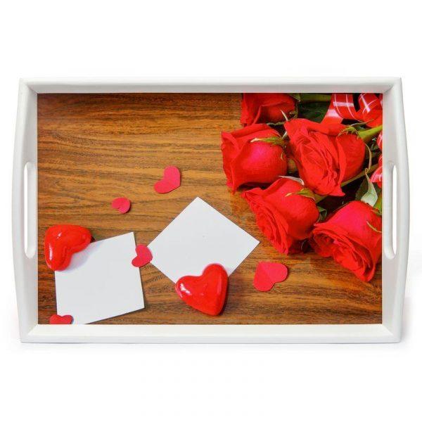 Поднос на подушке «Розы и сердце» 48*33 см