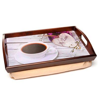 Поднос на подушке «Кофе и сердце», коричневый 48*33 см
