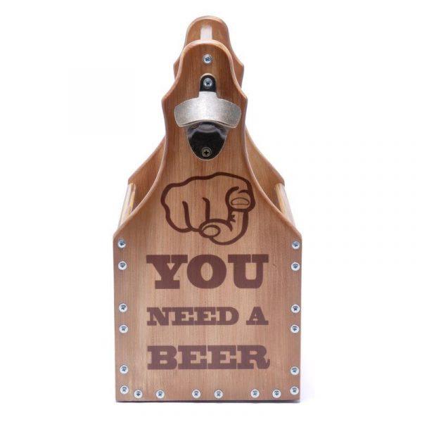 Ящик для пива «You Need A Beer» темный на 6 бутылок по 0,5л.