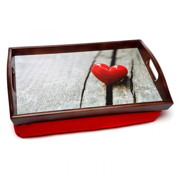 Поднос на подушке «Сердце в дереве» 48*33 см
