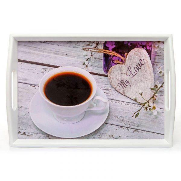 Поднос на подушке «Кофе и сердце», 48*33 см