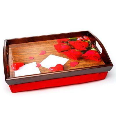 Поднос на подушке с ручками «Розы и сердца» 48*33 см