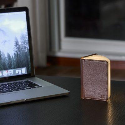 Светильник-книга Smart Book мини, натуральная кожа