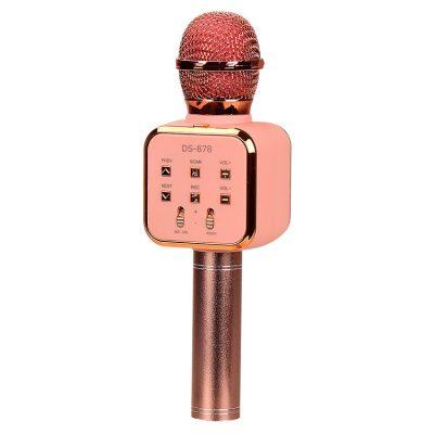 Беспроводной микрофон караоке DS-878 с колонкой (Rose-Gold)