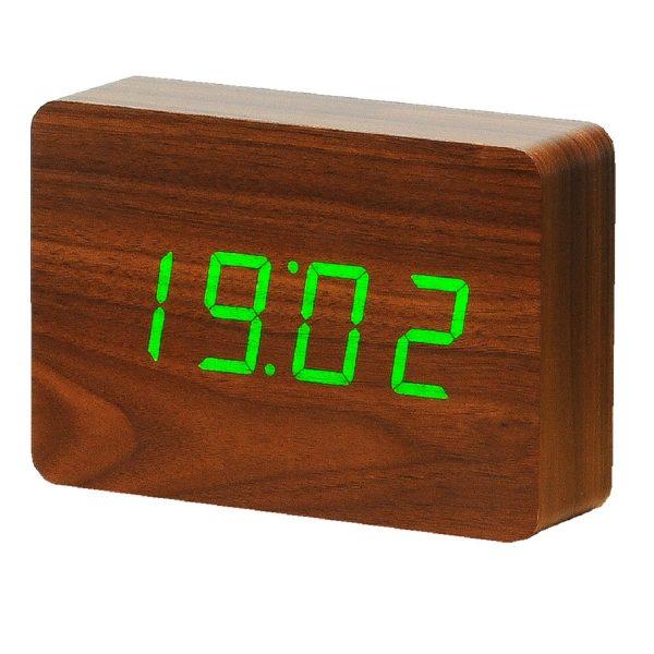 """Смарт-будильник с термометром """"BRICK"""" орех"""