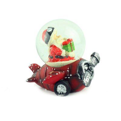 "Снежный шар ""Санта на красном самолёте"", 7 см"
