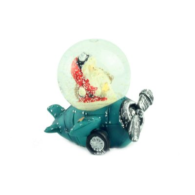 "Снежный шар ""Санта на синем самолёте"", 7 см"