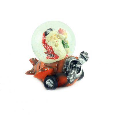"""Снежный шар """"Санта на оранжевом самолёте"""", 7 см"""