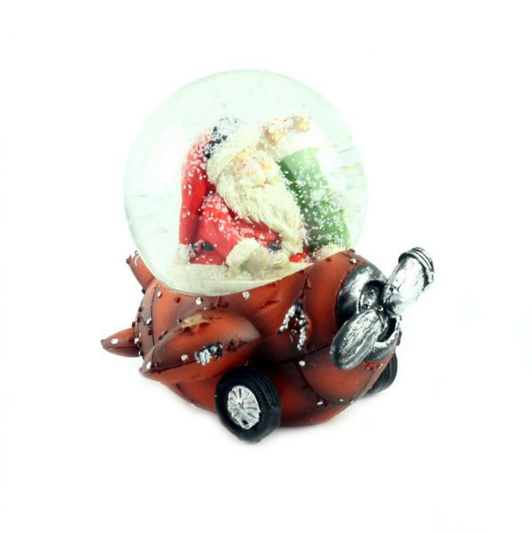 """Снежный шар """"Санта на оранжевом самолёте"""", 9 см"""