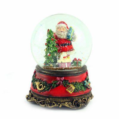 Снежный шар музыкальная шкатулка «Санта с ёлкой», 15 х 11 см
