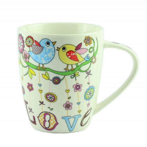 """Чашка """"Mug bird love Porcelain"""", птички 10 см"""