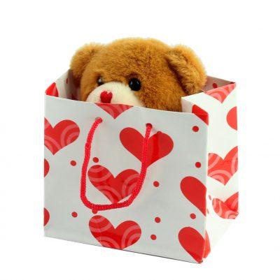 Мишка коричневый плюшевый в подарочной упаковке