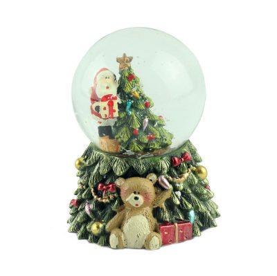 Снежный шар «Санта на дереве» с подсветкой