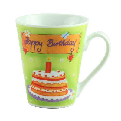 "Кружка  фарфор ""Happy  Birthday"", зеленная"