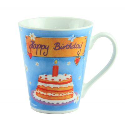 "Кружка  фарфор ""Happy  Birthday"", голубая"
