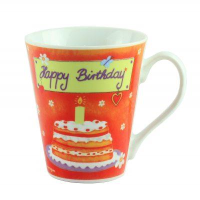 "Кружка  фарфор ""Happy  Birthday"", оранжевая"