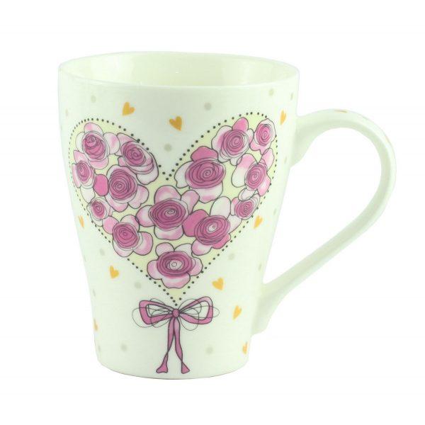 """Чашка """"Сердце с роз """" фарфор"""