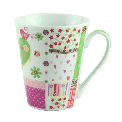 "Чашка  ""FLOWER"" фарфор, зеленая"