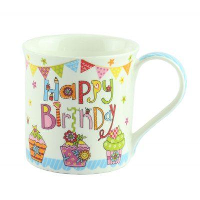 """Кружка """"Happy Birthday"""", голубая"""