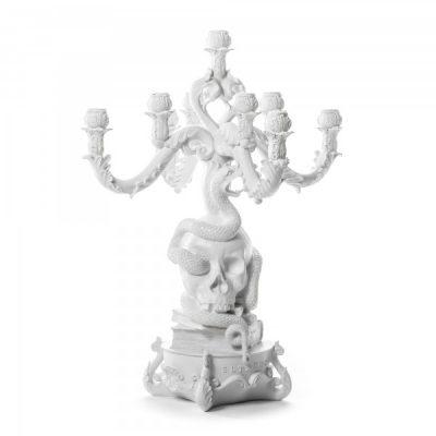 Канделябр с черепом Burlesque - the life logic белый