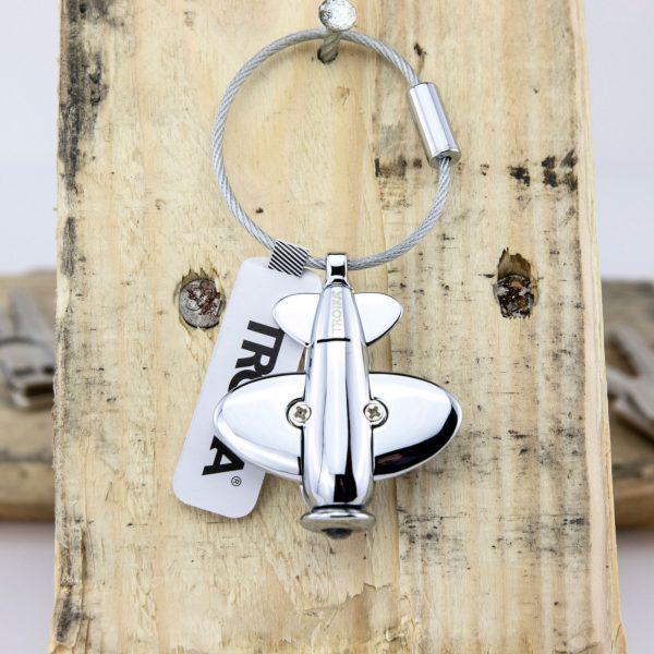 Брелок для ключей со светодиодной подсветкой, в форме самолета, хром