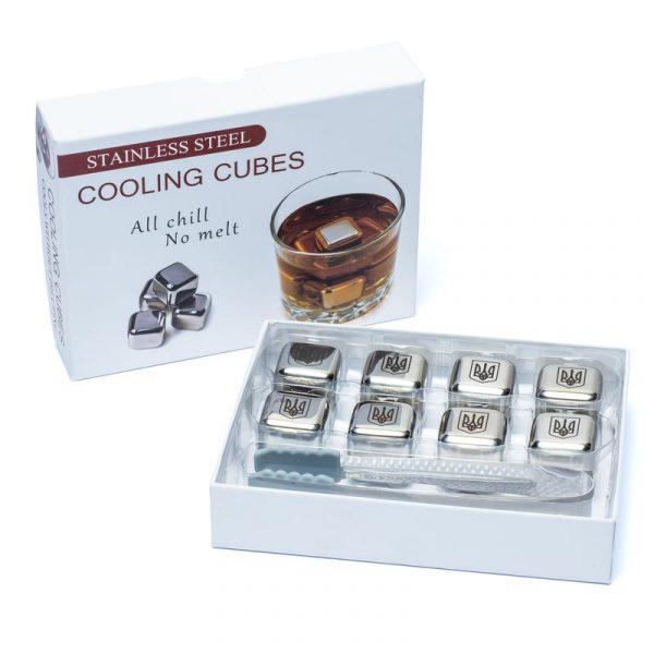 Набор камни кубики для виски металл 8 шт с пинцетом Decanto «Трезубец»